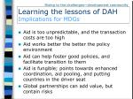 learning the lessons of dah implications for mdgs