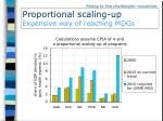 proportional scaling up expensive way of reaching mdgs