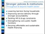 stronger policies institutions throughout beyond health sector
