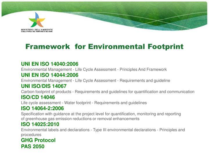 Framework  for Environmental Footprint