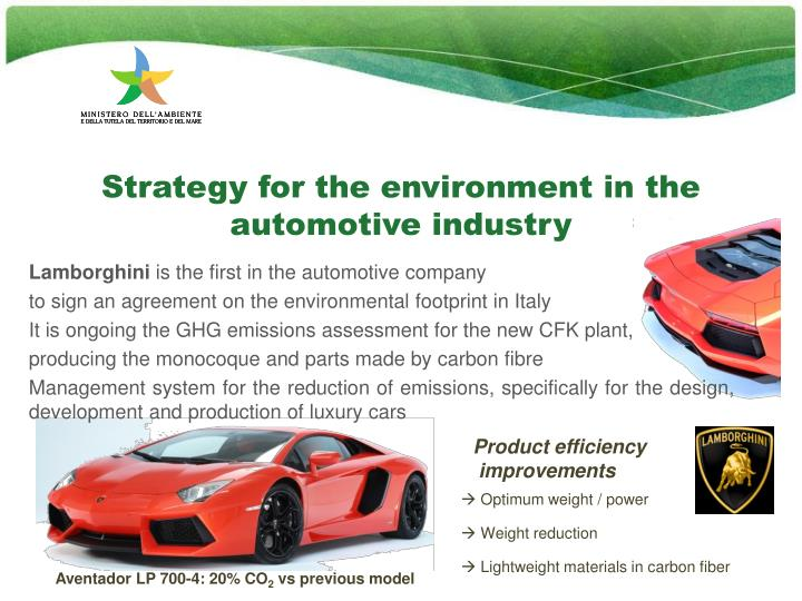 Strategy for the environment in the automotive industry