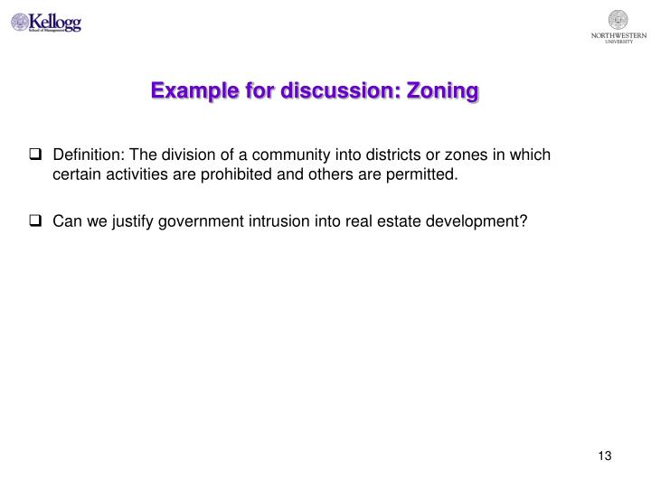 Example for discussion: Zoning