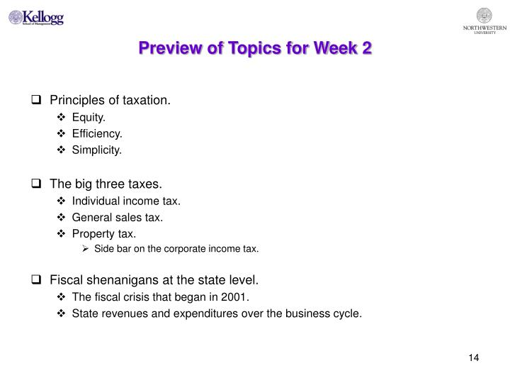 Preview of Topics for Week 2