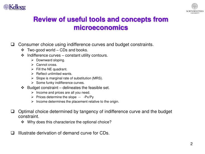 Review of useful tools and concepts from microeconomics