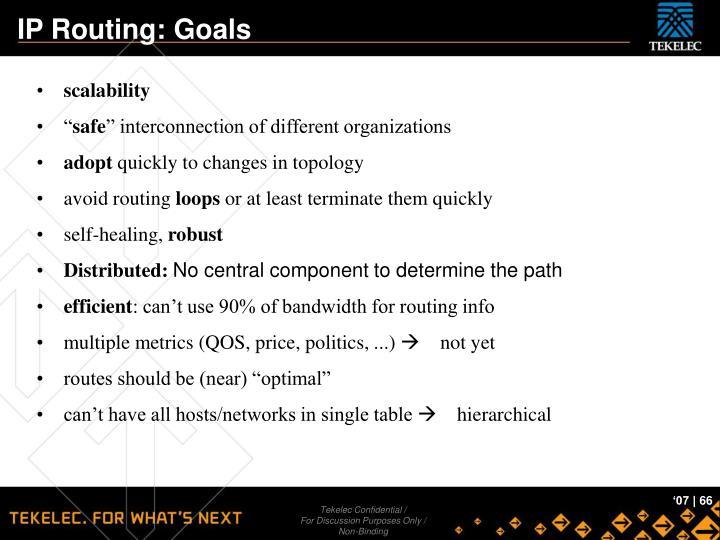 IP Routing: Goals