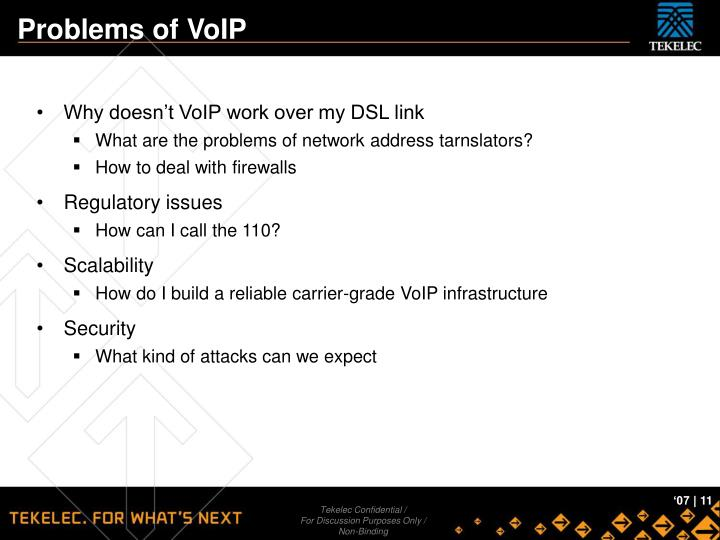 Problems of VoIP