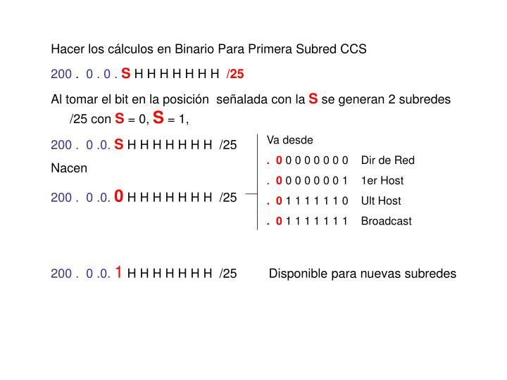 Hacer los cálculos en Binario Para Primera Subred CCS