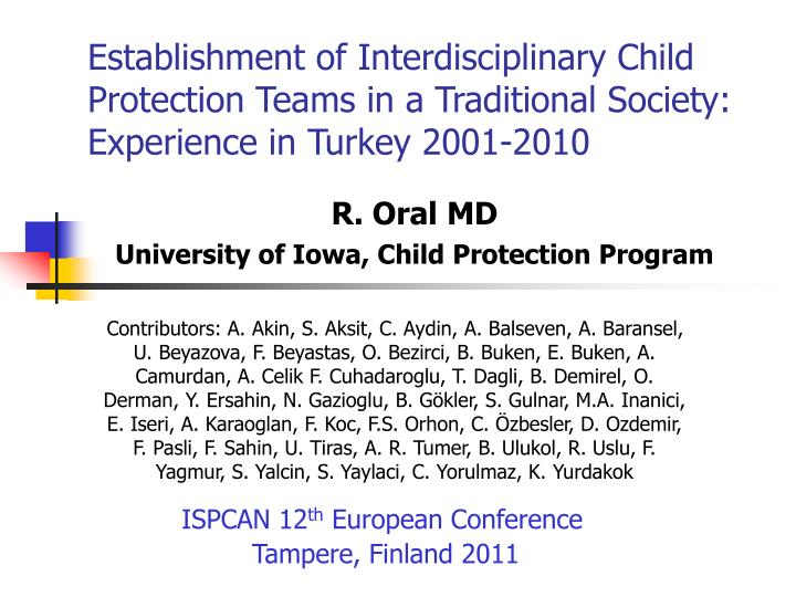 Establishment of Interdisciplinary Child Protection Teams in a Traditional Society: Experience in Tu...