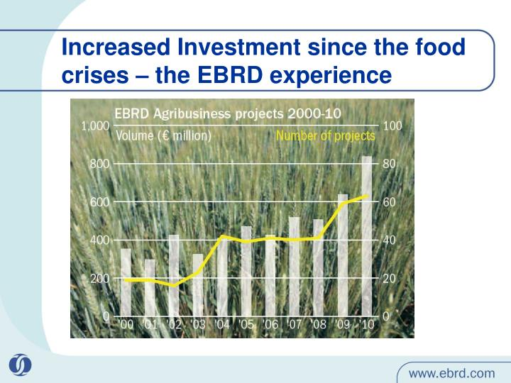 Increased Investment since the food crises – the EBRD experience