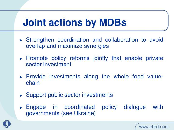 Joint actions by MDBs