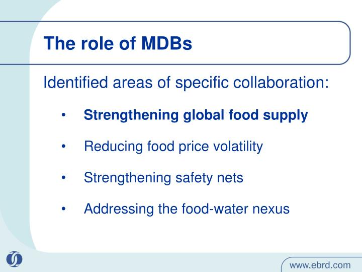 The role of MDBs
