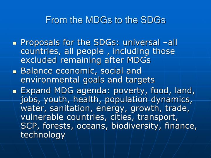 From the MDGs to the SDGs
