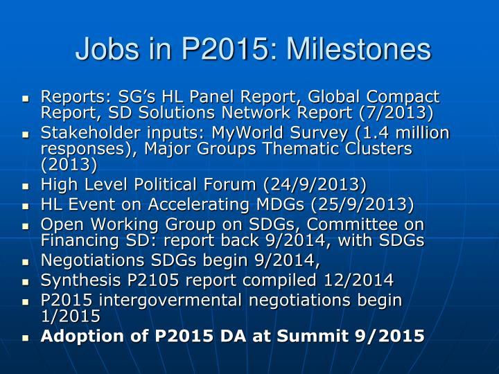 Jobs in P2015: Milestones
