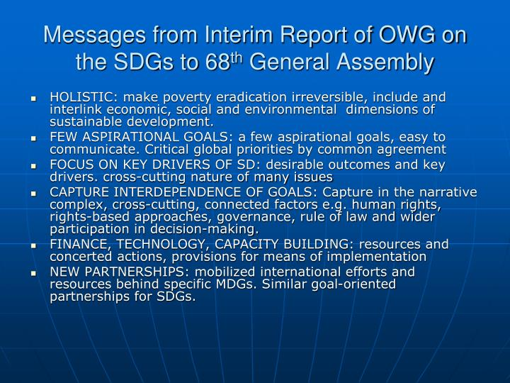 Messages from Interim Report of OWG on the SDGs to 68