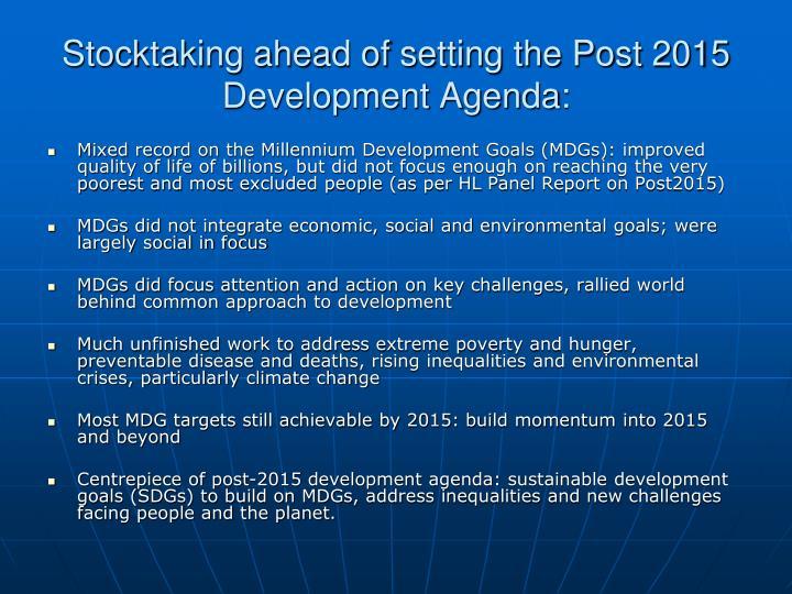 Stocktaking ahead of setting the Post 2015 Development Agenda: