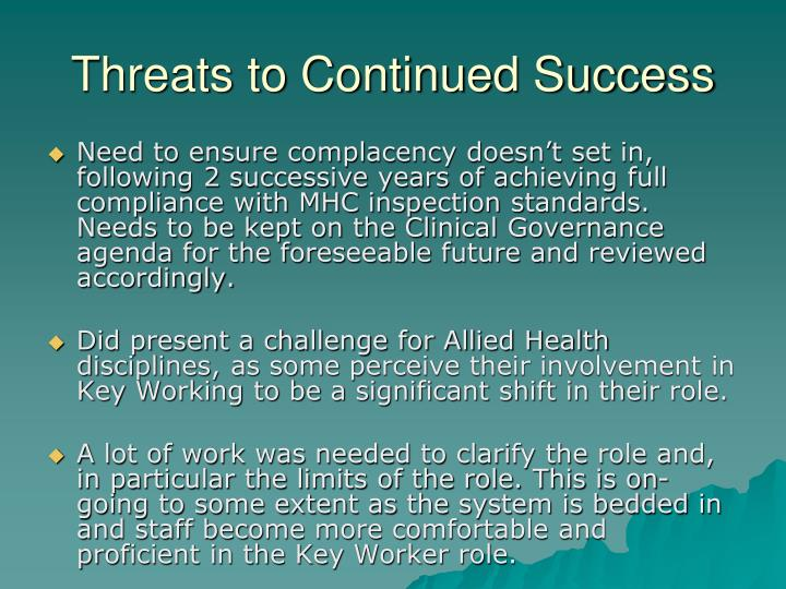 Threats to Continued Success