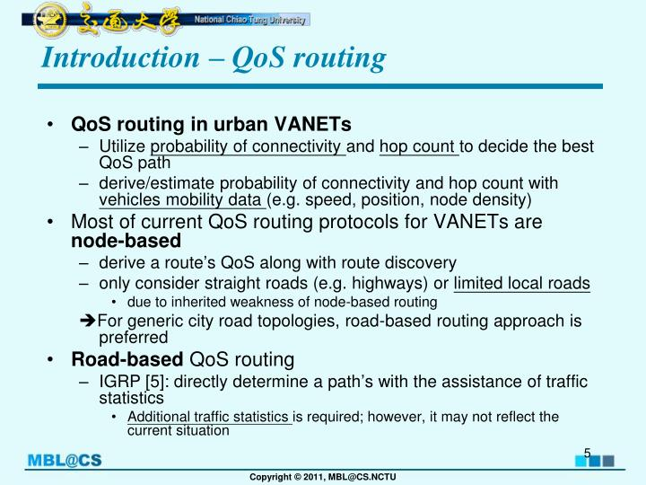 Introduction – QoS routing