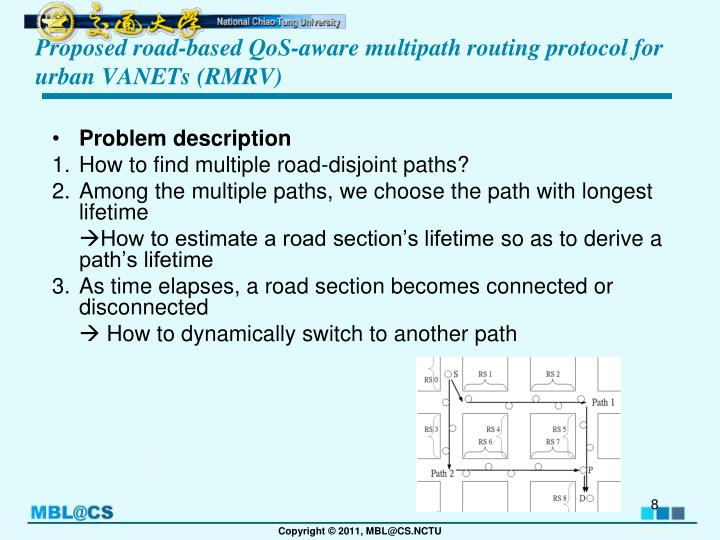 Proposed road-based QoS-aware multipath routing protocol for urban VANETs (RMRV)