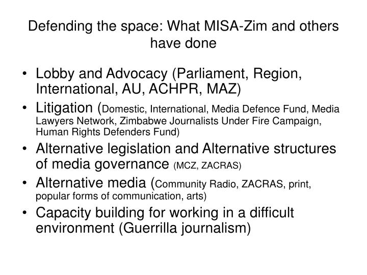 Defending the space: What MISA-Zim and others have done