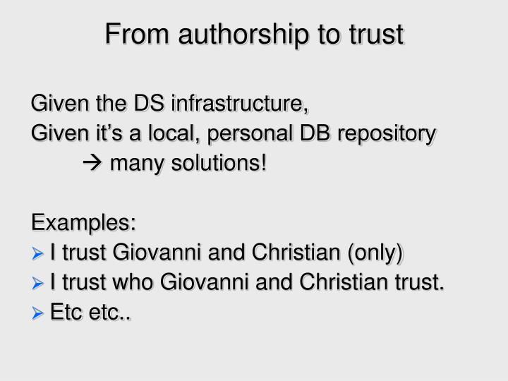 From authorship to trust