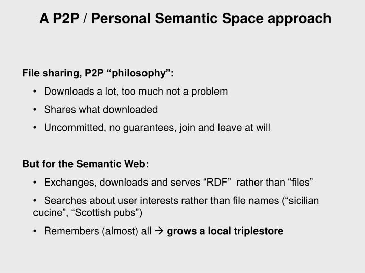 A P2P / Personal Semantic Space approach