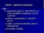 haccp legislativn po adavky