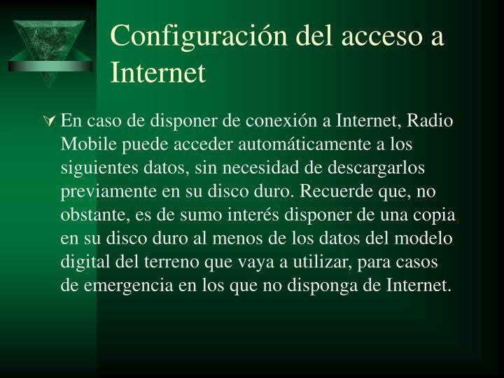 Configuración del acceso a Internet