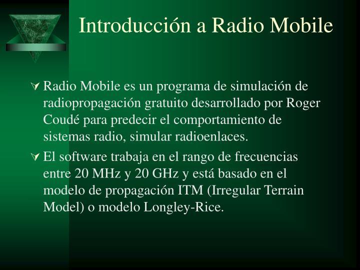 Introducción a Radio Mobile