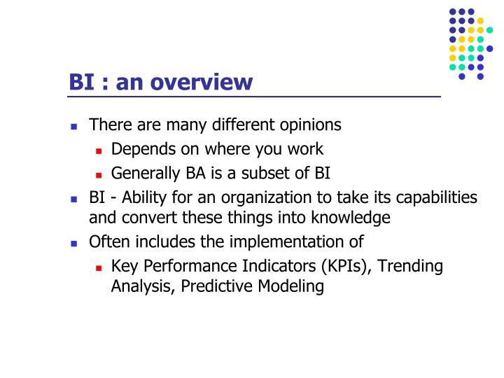 BI : an overview