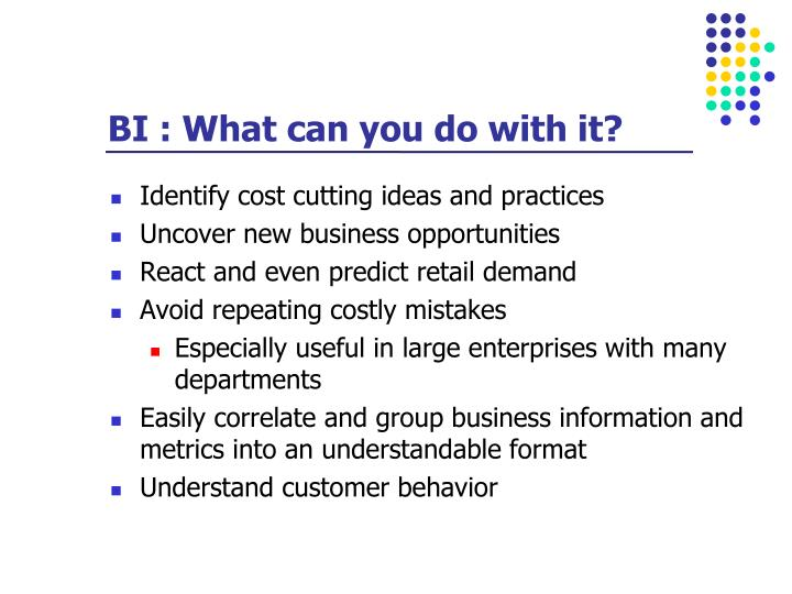 BI : What can you do with it?