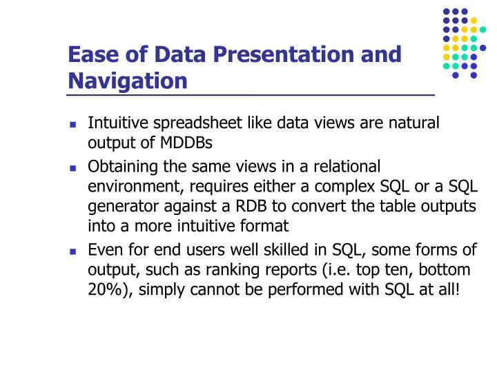 Ease of Data Presentation and Navigation
