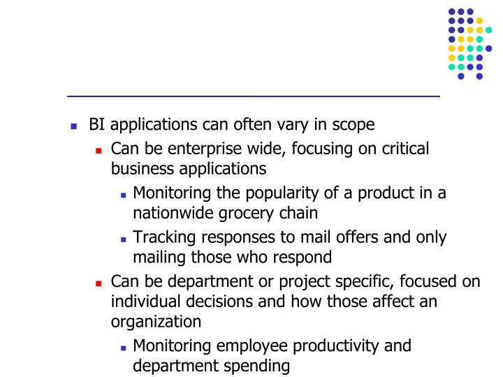 BI applications can often vary in scope