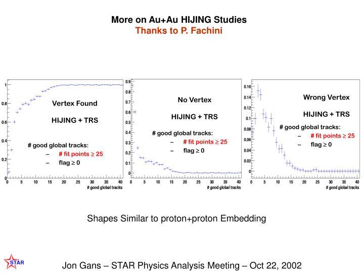 More on Au+Au HIJING Studies
