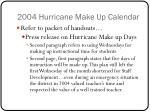 2004 hurricane make up calendar