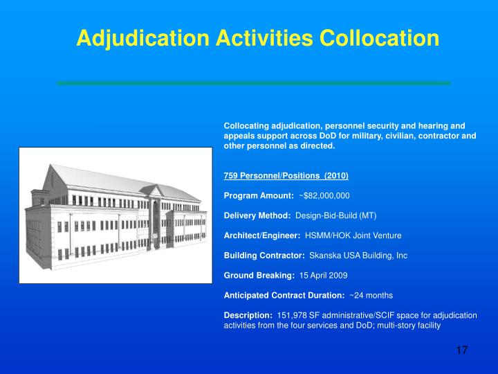 Adjudication Activities Collocation