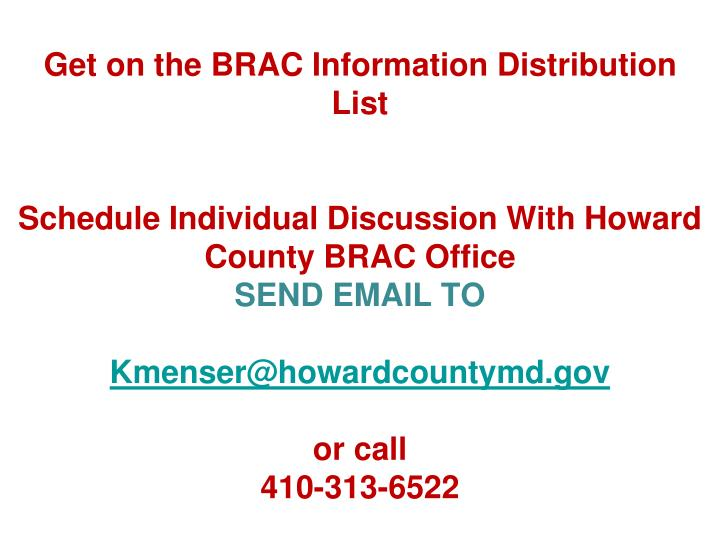 Get on the BRAC Information Distribution