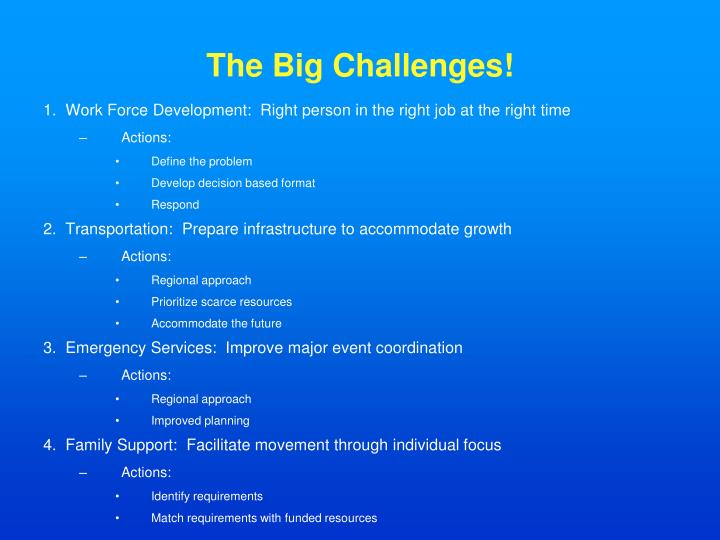 The Big Challenges!