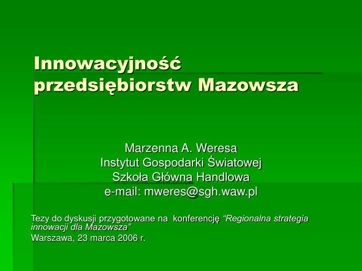 Innowacyjność przedsiębiorstw Mazowsza