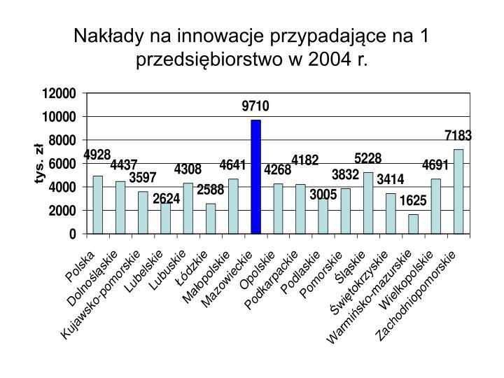 Nakłady na innowacje przypadające na 1 przedsiębiorstwo w 2004 r.