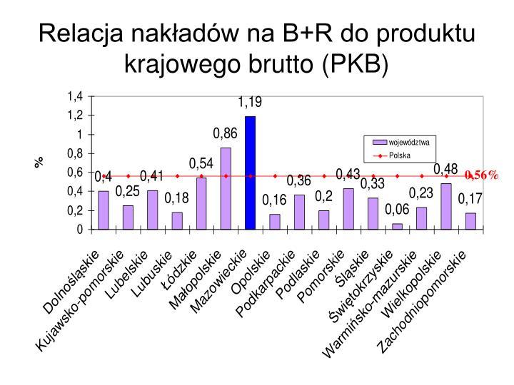 Relacja nakładów na B+R do produktu krajowego brutto (PKB)