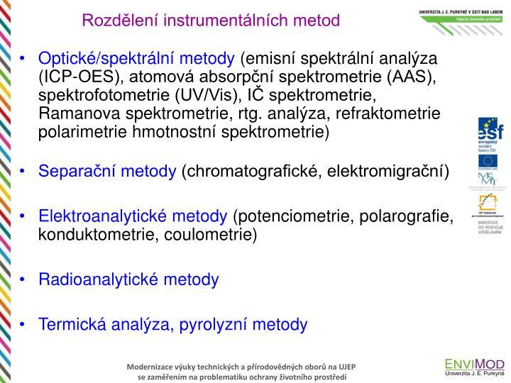 Rozdělení instrumentálních metod
