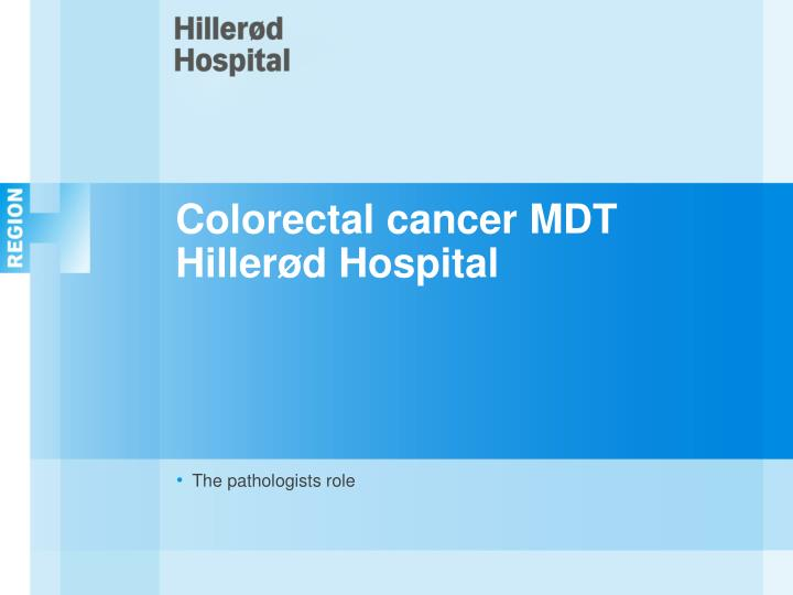 Colorectal cancer MDT