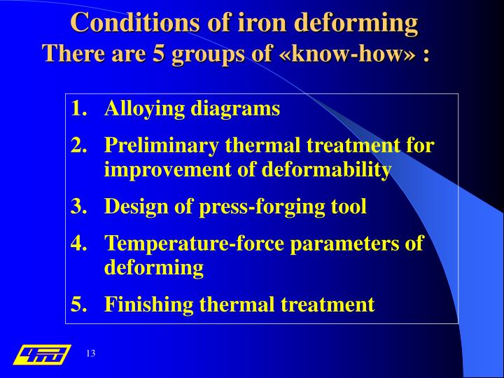 Conditions of iron deforming
