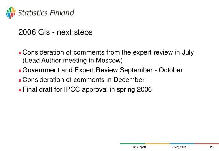 2006 Gls - next steps