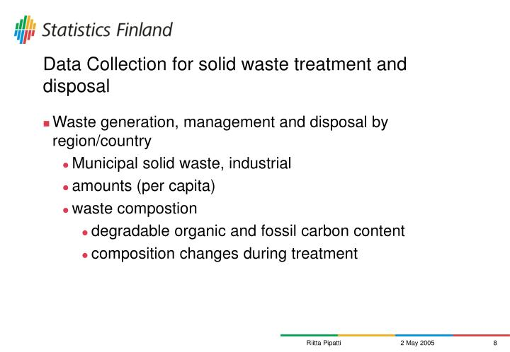 Data Collection for solid waste treatment and disposal