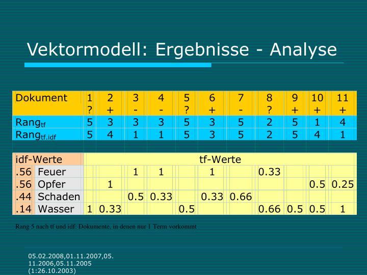 Vektormodell: Ergebnisse - Analyse