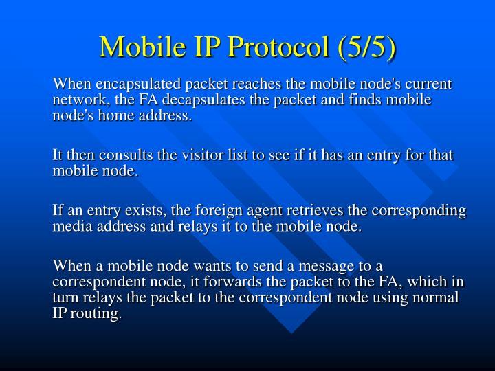 Mobile IP Protocol (5/5)