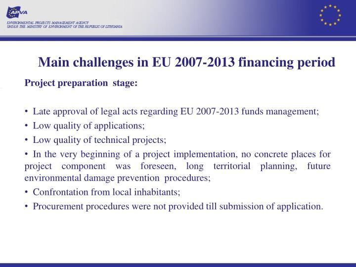 Main challenges in EU
