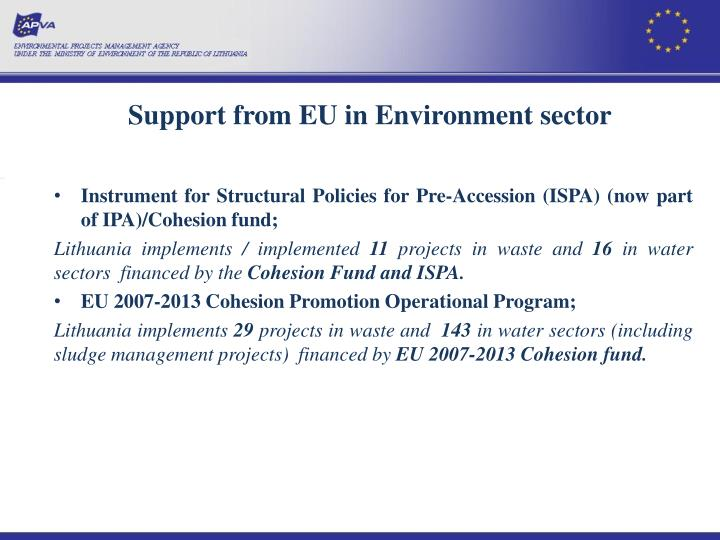 Support from EU in Environment sector