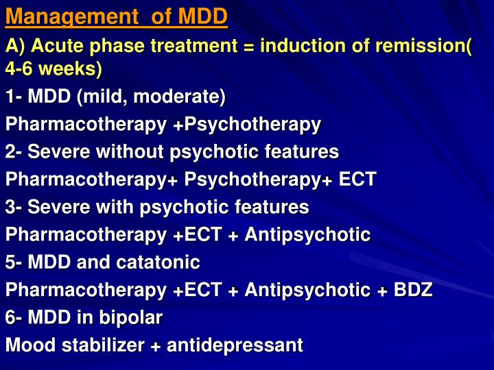 Management  of MDD